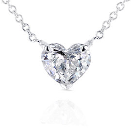 14K White Gold Floating Heart 0.75ct. Diamond Necklace