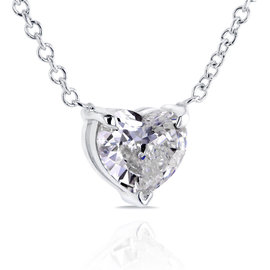 14K White Gold Floating Heart 0.5ct. Diamond Necklace