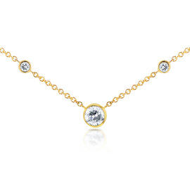 14K Yellow Gold 0.23ct. Diamond Bezel Necklace