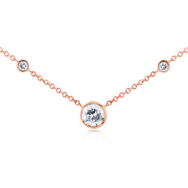 14K Rose Gold 0.31ct. Diamond Bezel Necklace