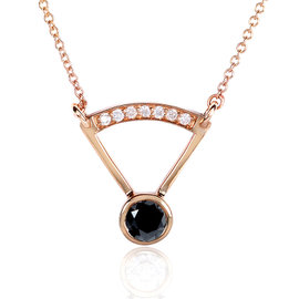 14K Rose Gold 0.4ct. Black and White Diamonds Bezel Necklace