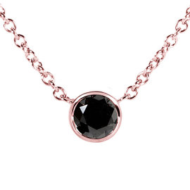 14K Rose Gold 0.25ct. Black Diamond Solitaire Round Bezel Necklace