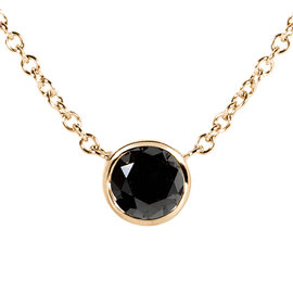 14K Yellow Gold 0.5ct. Black Diamond Solitaire Round Bezel Necklace
