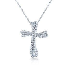 10K White Gold 0.35ct. Round & Baguette Cut Diamond Cross Necklace