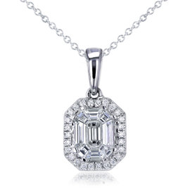 14K White Gold Art Deco 0.5ct. Emerald Cut Diamond Necklace