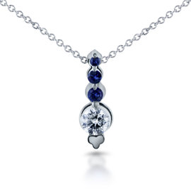 14K White Gold Blue Sapphire & 0.25ct. Diamond Bead Prong Journey Necklace