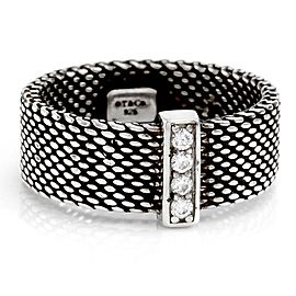 Tiffany & Co. 925 Sterling Silver Somerset Pave Diamond Mesh Band Size 6