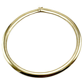 14K Yellow Gold Domed Omega Necklace