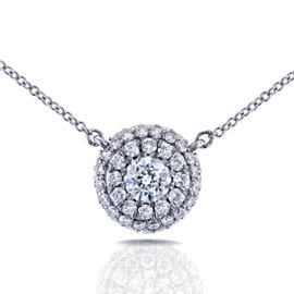 14K White Gold 0.33ct Diamond Cluster Necklace
