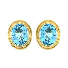 Omega 14k Yellow Gold Topaz Mens Earrings