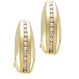 Omega 14k Yellow Gold Diamond Mens Earrings
