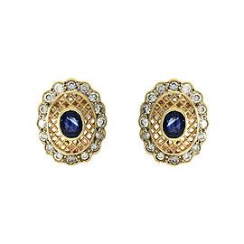 Omega Back 14k Yellow Gold Sapphire, Diamond Mens Earrings