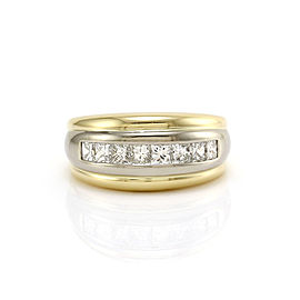 LeVian 18K Yellow and White Gold 0.96 Ct Princess Cut Diamond Band Ring Size 6