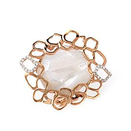 LeaderLine 18K Rose Gold Mother of Pearl & Diamond Ring Size 7.75