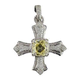 Judith Ripka 18K White Gold 2.00 Ct Yellow Rock Crystal & 0.50 Ct Diamond Cross Pendant