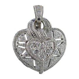Judith Ripka 18K White Gold Diamond Heart Puff Pendant