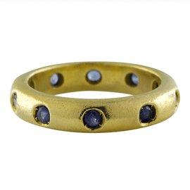 Judith Ripka Etoille 18K Yellow Gold 1.00 Ct Blue Sapphire Eternity Band Ring Size 5.75