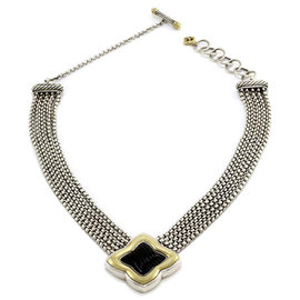 David Yurman 925 Sterling Silver & 18K Yellow Gold Onyx Quatrefoil Center Necklace