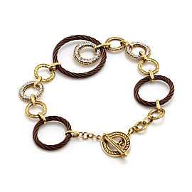 Charriol 18K Yellow Gold and Iron Celtique Pave Diamond Open Link Bracelet