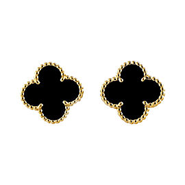 Van Cleef & Arpels 18K Yellow Gold Alhambra Black Onyx Earrings