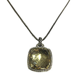 David Yurman Albion 18K Yellow Gold and Sterling Silver Pendant with Champagne Citrine and Diamond Necklace