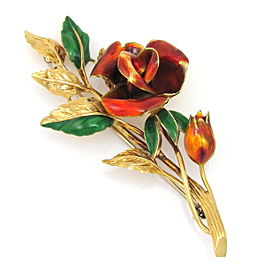 18K Yellow Gold with Enameled Rose Stem Vintage Pin Brooch