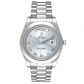 Rolex President Day-Date 41 Blue Dial Platinum Mens Watch 218206 Box Card
