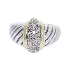 David Yurman 925 Sterling Silver & 18K Yellow Gold with .90ct Diamond Ring Size 7.25