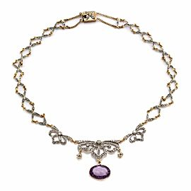 14K Yellow Gold Victorian Amethyst and Diamond Necklace