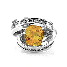 14K White Gold Yellow Sapphire and Diamond Ring Size 6.25