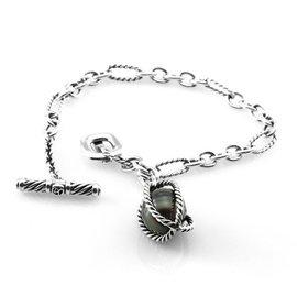 David Yurman 925 Sterling Silver Bijoux Tahitian Pearl Toggle Bracelet