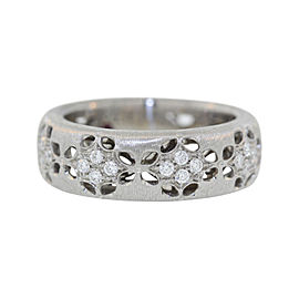 Roberto Coin 18K White Gold .28ct Diamond Band Ring Size 5.5
