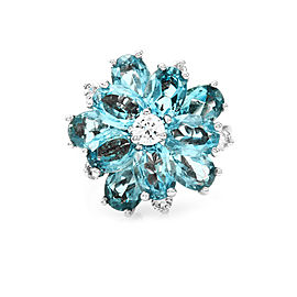 14K White Gold Aquamarine and Diamond Flower Cluster Ring Size 6.75