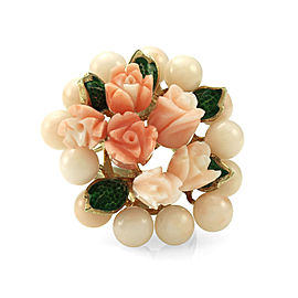14K Yellow Gold Coral Bead and Carved Flower Cluster Ring Size 6.25