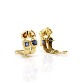 Omega Yellow Gold Sapphire, Citrine Womens Earrings