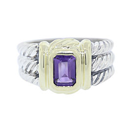 David Yurman 925 Sterling Silver & 18K Yellow Gold with .80ct Amethyst Cable Ring Size 7