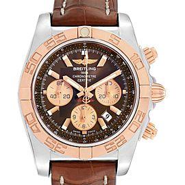 Breitling Chronomat Evolution Steel Rose Gold Brown Dial Watch CB0110