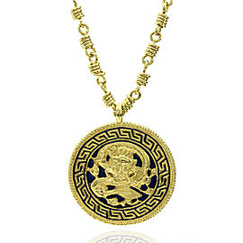 Van Cleef & Arpels 18k Yellow Gold Enamel Dragon Medallion Necklace