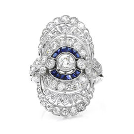 900 Platinum Edwardian European Diamond and Calibre Blue Sapphire Ring Size 6.25