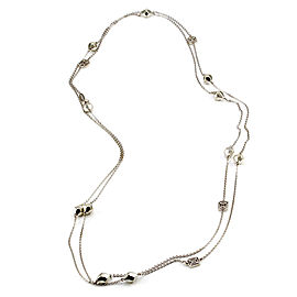 Signed Designer Mimi So Faceted Bead Station Necklace in 18K White Gold