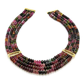 Antonini Gioielli Tourmaline Bead Necklace with Diamonds and 18KY Gold