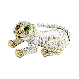 David Webb Kingdom 18K Yellow Gold & Platinum White Enamel Emerald & Diamonds Tiger Brooch