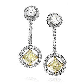 14K Yellow & White Gold Yellow and White Diamond Drop Earrings