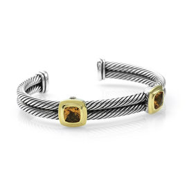 David Yurman 925 Sterling Silver and 18K Yellow Gold Citrine Woven Bracelet