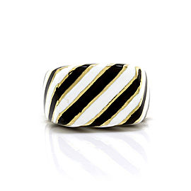 David Webb Kingdom 18K Yellow Gold Striped Enamel Ring Size 6.5