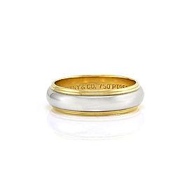 Tiffany & Co. 950 Platinum and 18K Yellow Gold Milgrain Wedding Band Size 8.75