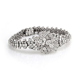 Platinum 17.16ctw. Diamond Cluster Statement Bracelet