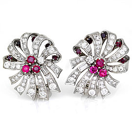 Platinum Ruby & Pavé Diamond Ribbon Clip On Earrings