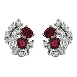 18K White Gold Ruby and Diamond Clip-On Earrings