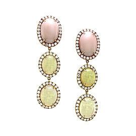 18K Rose Gold Pink Coral & Opal Pavé Diamond Drop Earrings